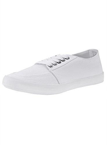 oodji Ultra Donna Sneakers di Tela Bianco (1000N)