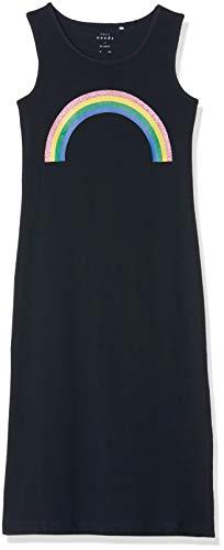 Name IT NOS Mädchen NKFVIPPA SL Maxi Dress NOOS Kleid, Blau (Dark Sapphire Print: Rainbow), (Herstellergröße: 134) Mädchen Mode Kleid