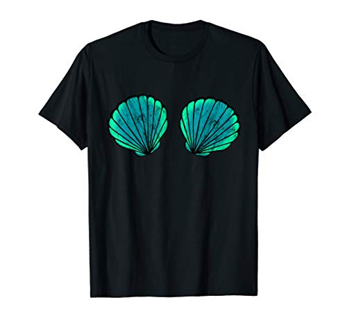 Urlauber Kostüm - Nixe Meerjungfrau Muschel Bikini BH Strand Kostüm T-Shirt