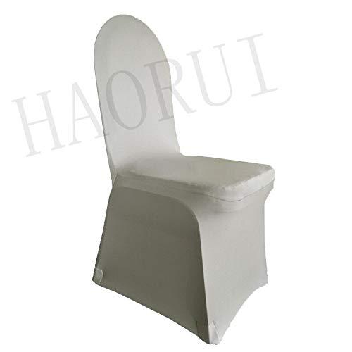 PCSACDF 4 stück Weiße Farbe Stuhlabdeckung Spandex Elastische Stuhlabdeckung Starke Oxford Für Hochzeitsdekoration Hotel Bankett Großhandel universal Splitter - Großhandel Esszimmer Stühle