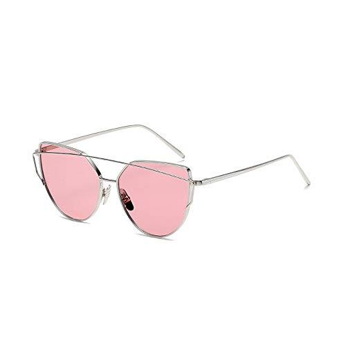 Eye-nak® Mode Katzenaugen Cat eye Sonnenbrille Für Damen UV400 Metall Rand Rahmen verspiegelte Linsen (C15 Rahmen Silber/Glas Rosa Transparent)