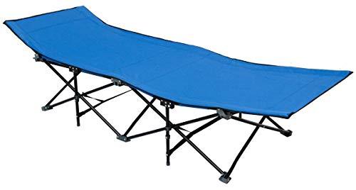 AMANKA lettino da campeggio per abbronzarsi brandina letto da campo | struttura in acciao pieghevole 10 gambe | ca 190x70cm | Azzurro