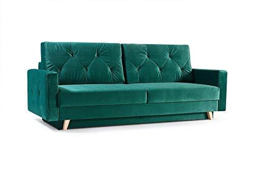 mb-moebel Modernes Sofa Schlafsofa Kippsofa mit Schlaffunktion Klappsofa Bettfunktion mit Bettkasten Couchgarnitur Couch Sofagarnitur 3er NICO Dunkelgrün