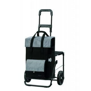 Andersen Shopping trolley Comfort with bag Milla black, Volume 49L, steel frame and seat