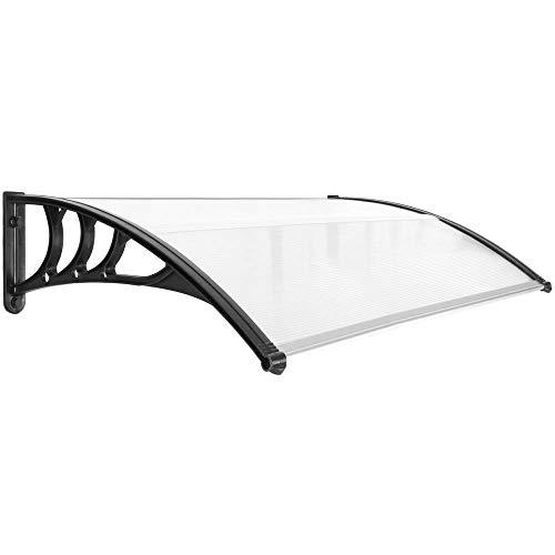 PrimeMatik - Tejadillo de protección Marquesina para Puertas y Ventanas Negro 150x80cm