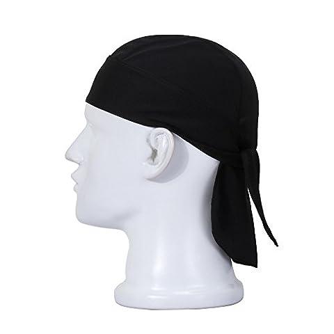 FREEMASTER Sports Bandana Cap Schwarz Rot Weiß Herrem Damen Biker Bandanas Kopftuch Hat (Schwarz)