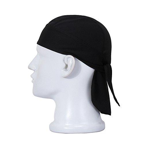 FREEMASTER Sports Bandana Cap Schwarz Rot Weiß Herrem Damen Biker Bandanas Kopftuch Hat (Schwarz) (Glatze-mütze)