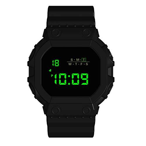 VECOLE Fitness Uhr, 30 Meter wasserdichter LED-Display mit beleuchtetem Display Verstellbarer Wecker Outdoor-Sportuhr(Schwarz)