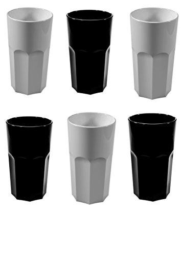 MIXÉ Ensemble de 6 vernis en noir et blanc RB en polycarbonate réutilisable irréversible en forme de octogone en forme de Tumblers. (330ml / 12oz à la jante Hauteur 13cm, Ma