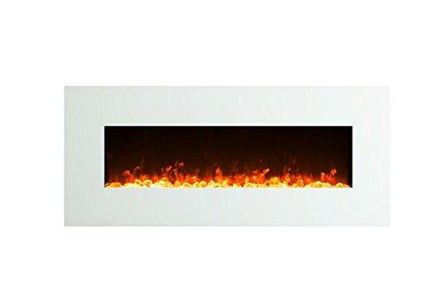 Elektrokamin Glow Fire Venus, 130 cm breit, Wandkamin elektrisch (1500 Watt Heizlüfter, Farbige LED-Beleuchtung; Glasscheibe, Dimmer, Fernbedienung) weiß (Flammen mit Kristalldekoration)