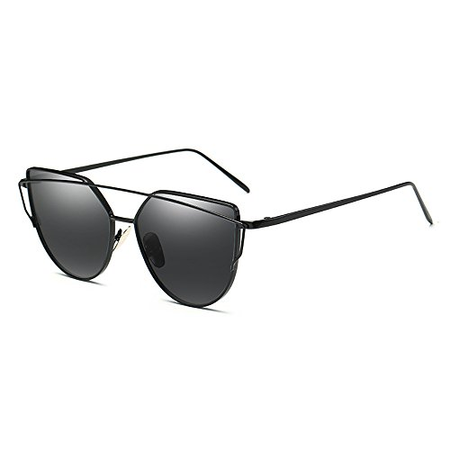 Twin-Träger Sonnenbrille - Skitic Klassische Sonnen Brillen Metallrahmen Katzenaugen Brille UV 400 Reflektierenden Damen Cateye Brillenmode (Schwarz Grau)