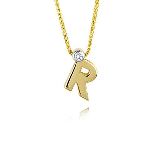 Diamond Line Goldkette mit Buchstaben R Diamant-Anhänger Gelbgold
