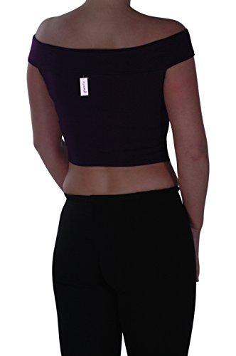 Eyecatch - Bardot Style Aux Femmes Hors La Épaule Désinvolte Gilet T -Shirt Dames Haut Pourpre