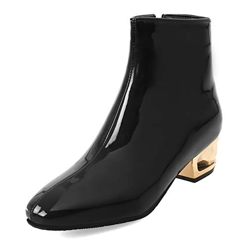 SERAPH Frauen Patent Stiefeletten Wasserdichte Low Blockabsatz Square Toe Booties M888-1,Black,36EU - Black Square Toe Cowboy-stiefel
