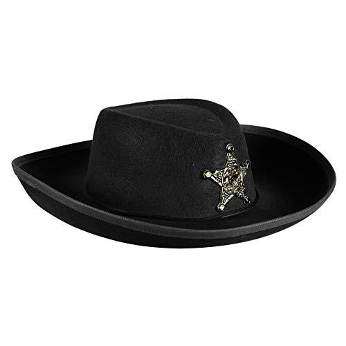 Cowboy-Hut für Kinder Cowgirl Sheriff Wilder Westen Ranger Cowboykostüm Partyhut Spaßhut Kopfbedeckung Hochwertiges Kostüm-Zubehör Karneval Fasching Einheitsgröße Schwarz