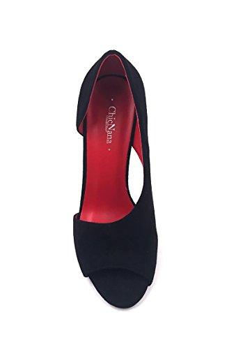 CHIC NANA . Chaussure Femme Mode Escarpins en effet daim ouvert sur le côté extérieur du pieds. Noir