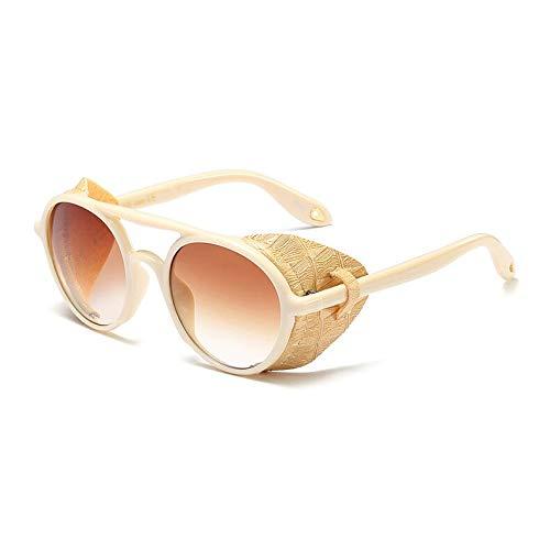 SNXIHES Sonnenbrillen New Men Sonnenbrille Mit Seitenschutz Sommer Stil Leder Runde Sonnenbrille Für Frauen Retro Uv400 5