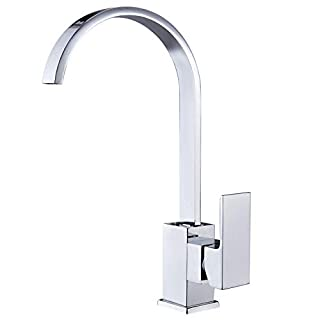 Kitchen Sink Taps Mixers Square Single Lever Monobloc Chrome Brass Waterfall Flat Spout Modern Swivel with Hoses and Fittings