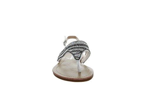 Sinly - Sandale Plate,Motif Ondulé,Ornée De Strass Avec Une Gradation De Couleur - Femme Argenté