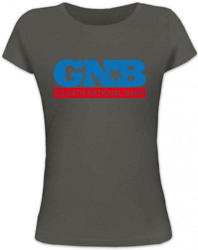 National Bank Street (Shirtstreet24, Goliath National Bank, GNB Lady / Girlie T-Shirt Fun Shirt Funshirt, Größe: XL,dunkelgrau)