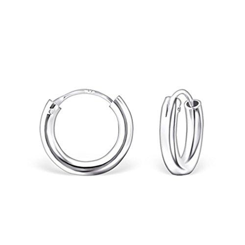DTP Silver - Argento 925 - Orecchini da donna piccoli a Cerchio - Spessore 2 mm - Diametro 14 mm