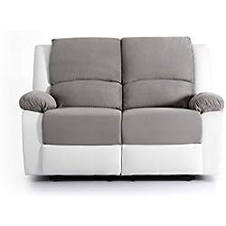 UsineStreet Canapé Relaxation 2 Places Microfibre/Simili DETENTE - Couleur - Blanc/Gris