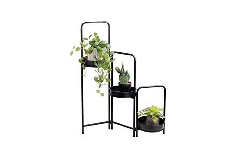 LIFA LIVING Moderne Blumentreppe aus schwarzem Metall mit Bögen, Pflanzenständer mit DREI Stufen, Dekorativer Blumentopfständer für den Innenbereich, Ø 25 x 90 cm