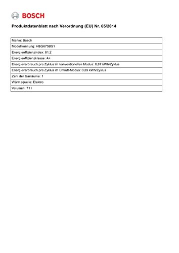 Bosch HBG675BS1 Serie 8 Backöfen, Elektro / Einbau / A+ / 71 L / 4D Heißluft Plus Bosch HBG675BS1 Serie 8 Backöfen, Elektro / Einbau / A+ / 71 L / 4D Heißluft Plus