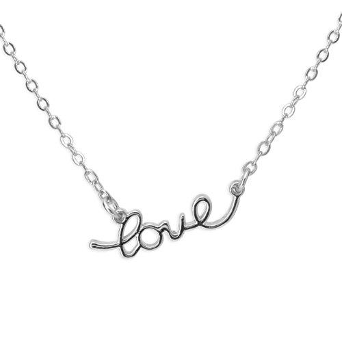 Fashionvictime-Mujer-Collar-Love-Chapado-En-Plata-Rodiado-Joyeria-Fashion
