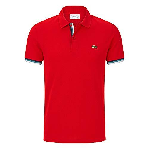 Orange-weiß Gestreiftes Hemd (Lacoste PH4220 Herren Polo Shirt Kurzarm,Männer Polo-Hemd,2 Knopf,Regular Fit,RED(240),X-Large (6))