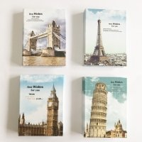 Happy Star® London Paris Italy Holiday Hardback Notebook With Sticky Notes And Ballpoint Pen (Paris Eiffel Tower)