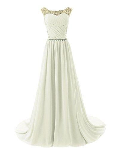 Vantexi Damen Glitzer Formale Abendkleid Ballkleid Chiffon Lange Kleider Elfenbein Größe 48