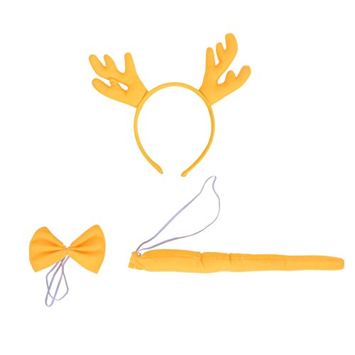 Tinksky Weihnachten Kostüm Set Hirschgeweih Stirnband Fliege Schwanz 3 STÜCKE für Kinder Cosplay Weihnachten Verkleiden (Gelb)