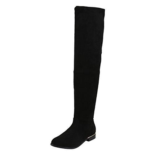 napoli-fashion Gefütterte Damen Overknees Metallic Winter Stiefel Damen Stiefel Schwarz 37 Jennika (High Knee Boot Winter)