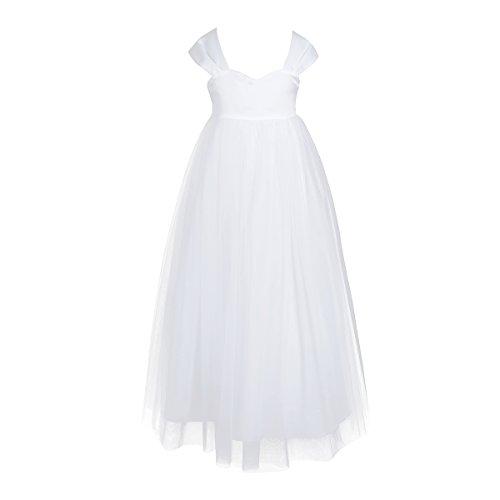 iEFiEL Mädchen festliche Kleider Lange Brautjungfern Hochzeit Kleider  Blumenmädchen Kleid Party Festzug 86-164 Weiß 140 00029275da