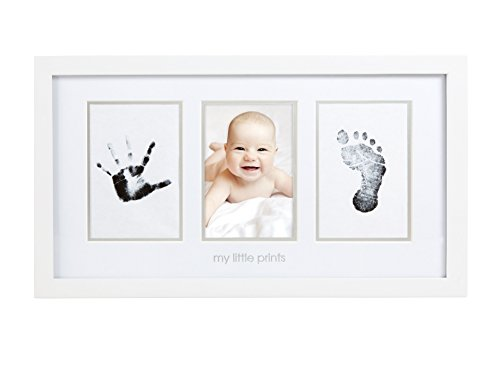 Pearhead Babyprints Newborn Baby Handprint and Footprint Photo Frame Kit with Included Clean-Touch Ink Pad to Create Babys Prints - A Perfect Baby Shower Gift