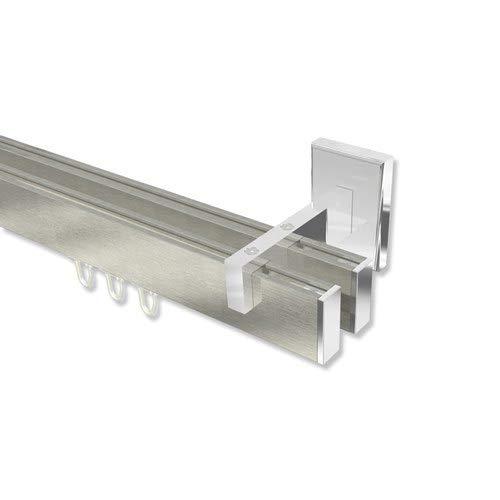 INTERDECO eckige Innenlauf Gardinenstangen/Innenlaufstangen Edelstahl Optik/Chrom doppelläufig Smartline Paxo, 140 cm