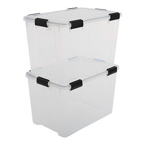 Iris Boxen All-Weather Box, 2er-Set, AT-LD, für herausfordernde Lagerbedingungen, Plastik, transparent, 70 L -