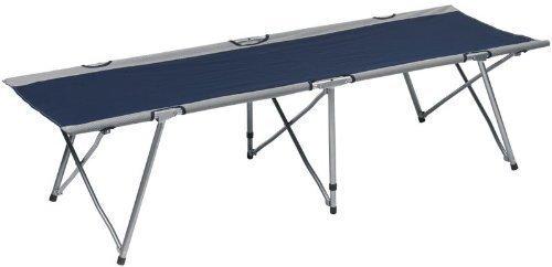 Preisvergleich Produktbild Feldbett mit Tragetasche,  faltbare Liege,  stabil,  hohe Tragfähigkeit,  kleines Gästebett,  Farbe: blau-grau