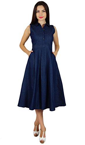 Bimba manches plissé d'une ligne-robe avec s nim casual chemise changement robe Bleu