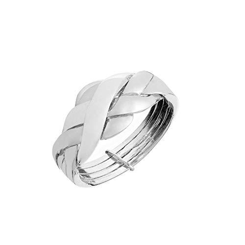 Silverly Frauen .925 Sterling Silber Geflochtener Gewebter Multi-Band Puzzle Ring