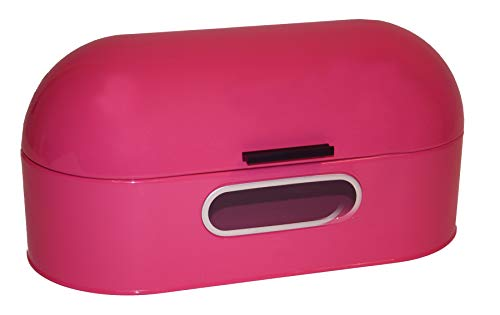 Dynamic24 XL Retro Brotkasten 43cm Brot Aufbewahrung Brotbox Frischhaltebox Brotbehälter Vintage (Pink)