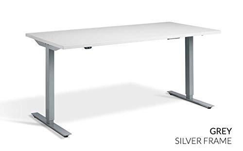 Rise 1 (Edge) Elektrischer Stehtisch höhenverstellbar 1800 x 800mm Silver Frame - Grey Top