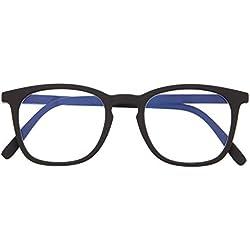 Gafas con Filtro Anti Luz Azul para Ordenador. Gafas de Presbicia o Lectura para Hombre y Mujer. Tacto Goma, Patillas Flexibles y Cristales Anti-reflejantes. Graphite +2.0 - TATE