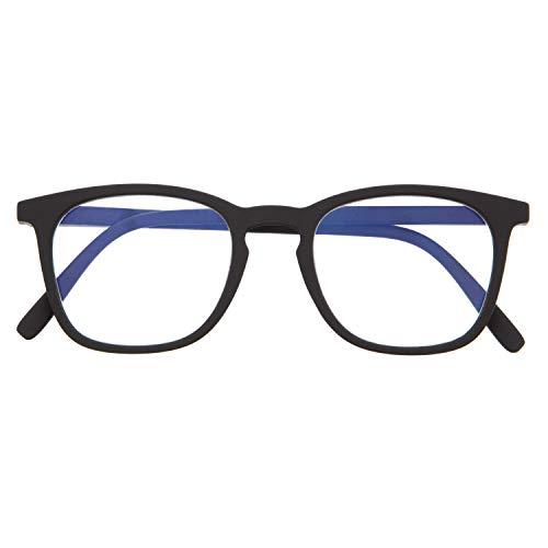 Blaulichtfilter Brille für Damen und Herren. Blaufilter Brille mit stärke oder ohne sehstärke für Gaming oder Pc. Gummi-Touch-Tempel und Blendschutzgläser. Graphite +2.0 - TATE