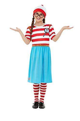 Wally Wenda Kostüm - Smiffys 50280L Offizielles Lizenzprodukt Where e's Wally Wenda Deluxe Kostüm für Mädchen