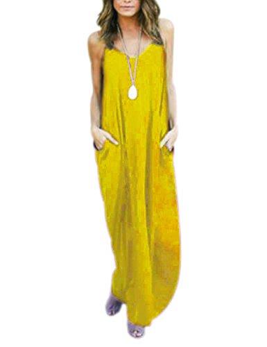 Damen Kleider Strandkleid Maxikleid Loose Ärmellos Kleid Langkleider Casual Sommerkleider (XXL, (Gelb Kleid Casual)