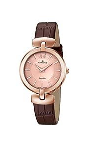 Candino reloj de cuarzo para mujer con oro rosa esfera analógica pantalla y correa de piel color marrón C4567/2 de Candino