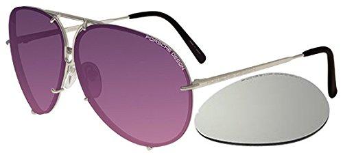 Porsche design - p8478, aviator, titanio, uomo, silver/violet pink shaded + silver mirror lens(m zz), 60/10/135