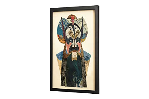 KunstLoft Trendiges Bild Frame Art 3D 'Mystery to The Eye' 46x61cm | Handgefertigte Vintage Wanddeko aus Papier | Asia China Gesicht Bunt | Wandbild Collage Art Moderne Kunst Retro im Bilderrahmen